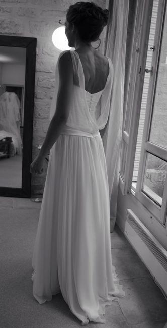 Ample robe de mariée bustier en crêpe et mousseline de soie