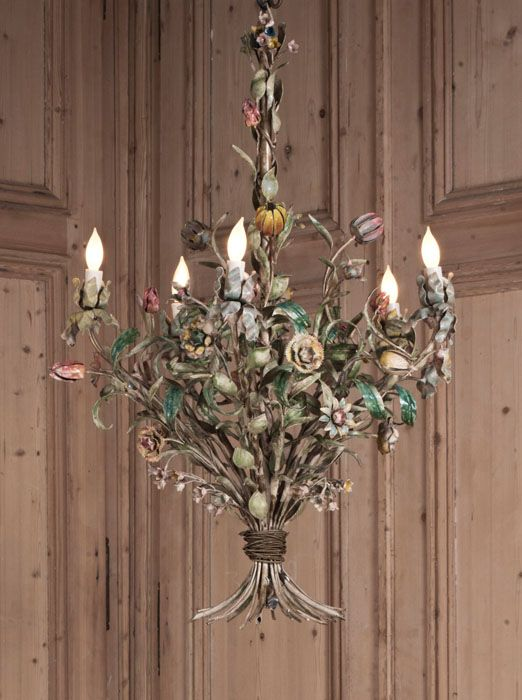 Country French Floral Bouquet Chandelier   Antique Chandeliers   Inessa Stewart's Antiques