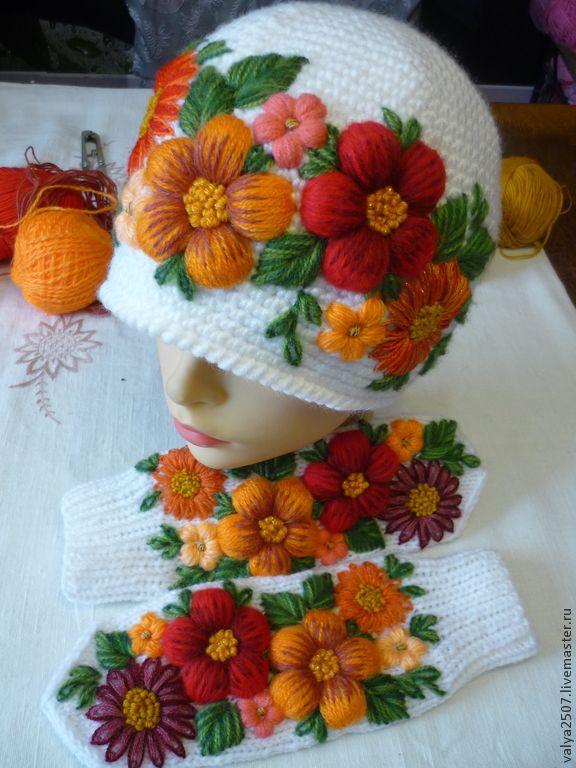 """Купить Варежки и шапка с вышивкой """"Оранжевая сказка"""" - цветочный, варежки, варежки ручной работы"""