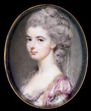 Watercolor on ivory portrait miniature of a lady by John Smart, 1782, 5.1 x 4.1 cm, Cincinnati Art Museum