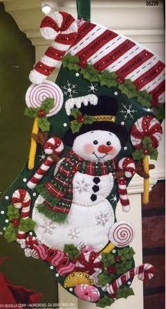 Adorable snowman Christmas stocking felt bucilla kit