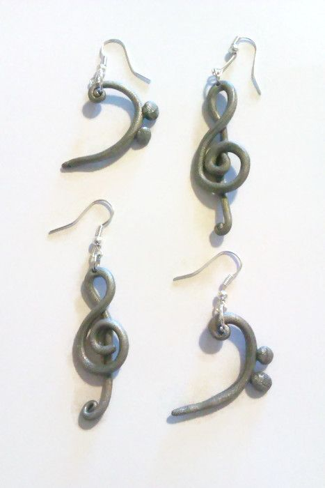 A recent commission. A set of silver treble and bass earrings for a music teachers pupils.  www.facebook.com/thequirkycrafthouse