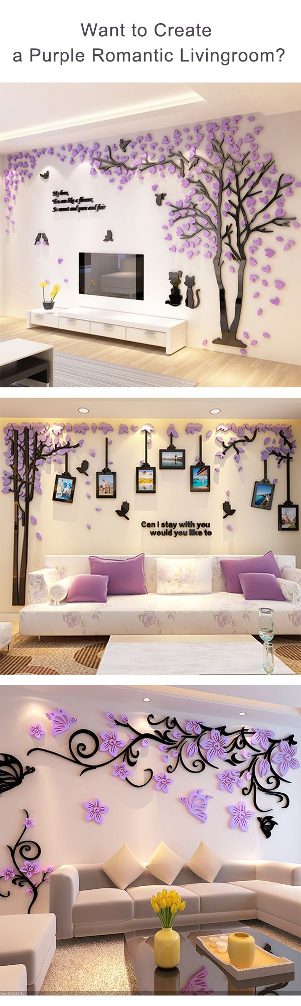 Want to add some romantic atmosphere to your home?Have a try of these 3D wall art stickers,some of them are also functioned as photo frames.