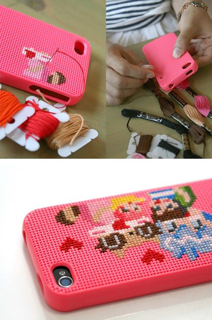 DIY Cross-Stitched iPhone Covers..I don't really cross-stitch but it looks cool anyway!