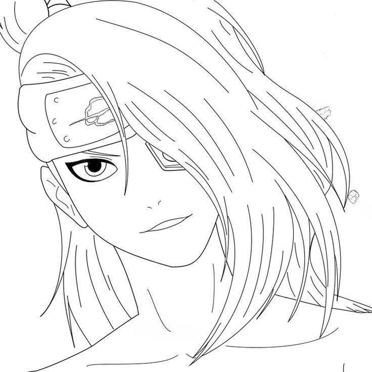 Deidara Smiling Naruto Coloring Pages Pinterest