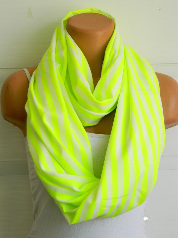 Striped Neon Green Infinity Scarf chiffon by WomensScarvesTrend, $23.00
