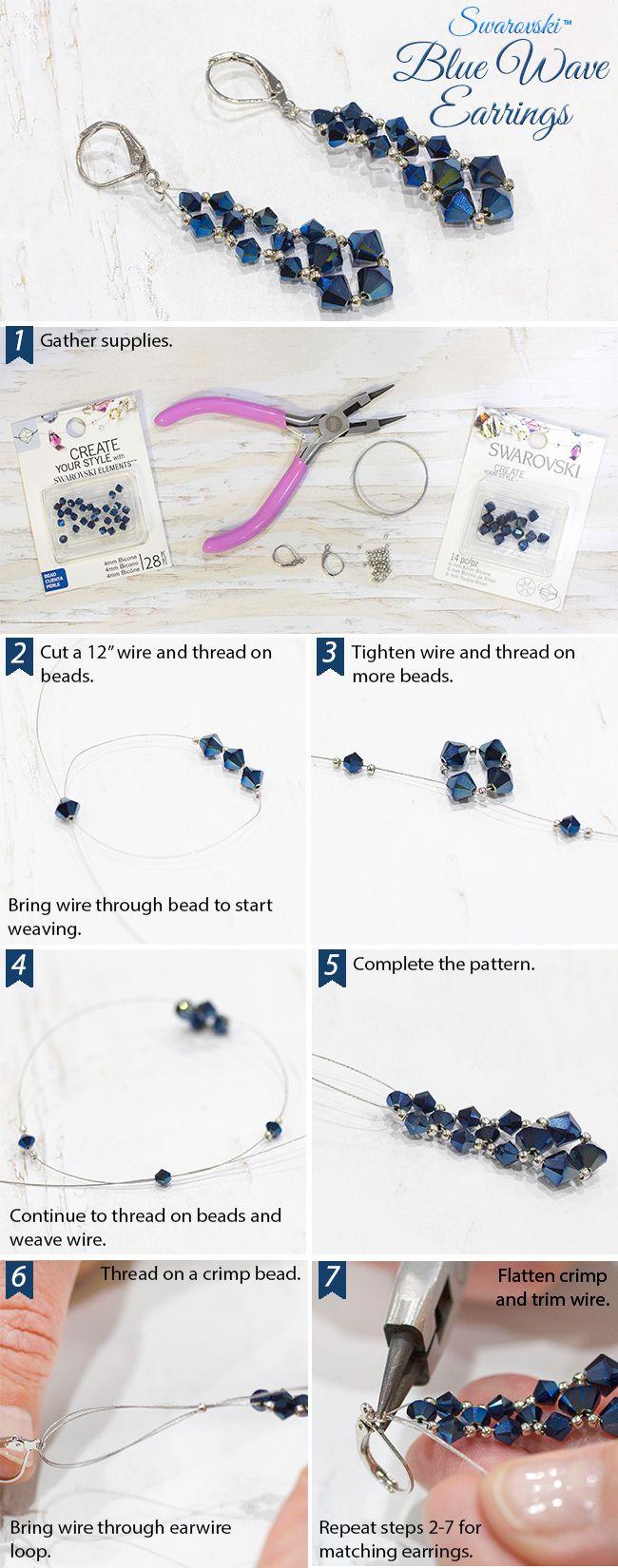 DIY Swarovski Blue Wave Earrings