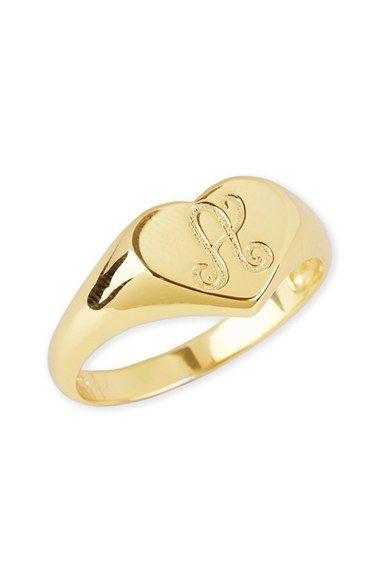 ae9455308385b Women's Argento Vivo Initial Heart Signet Ring | Gorgeous rings ...