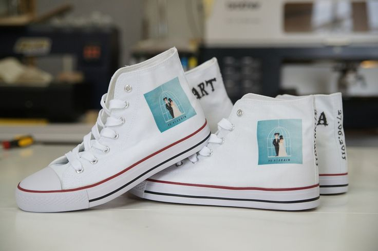PERFECT WEDDING. JUST MARRIED. DESIGN YOUR OWN PRINT ON SNEAKERS AT WANNASHOE.COM