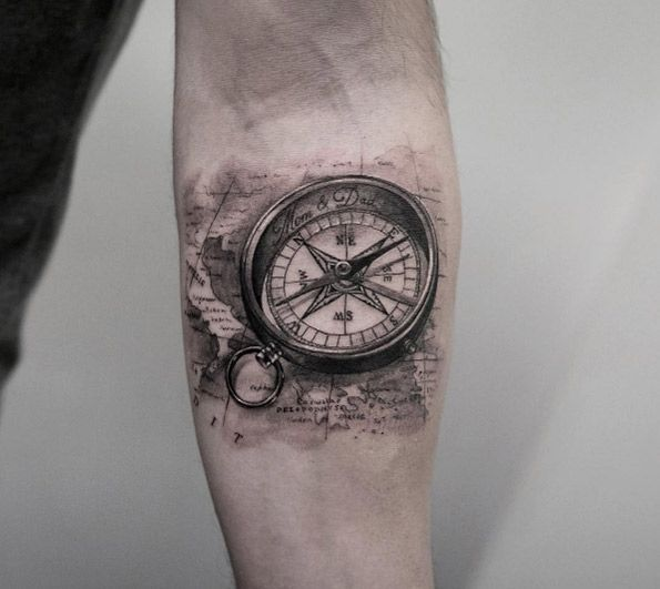 Compass on forearm by Turan Art