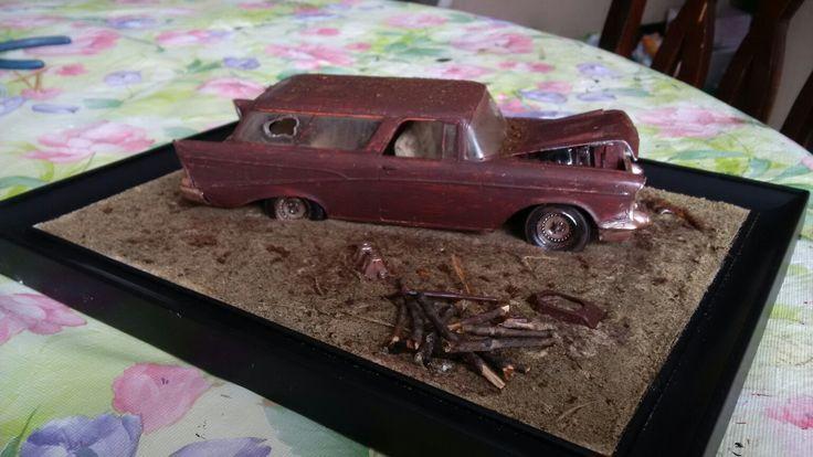 Diorama voiture abandonnée