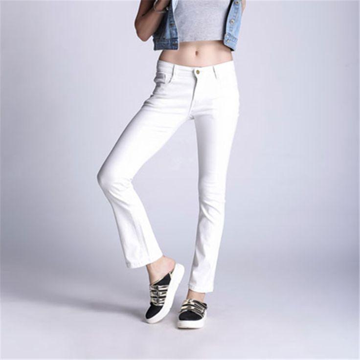 2017 Spring New Plus Size S-5XL White Jeans Women Jeggings Leisure Denim Medium Waist Skinny Flare Pants Female Casual Jeans