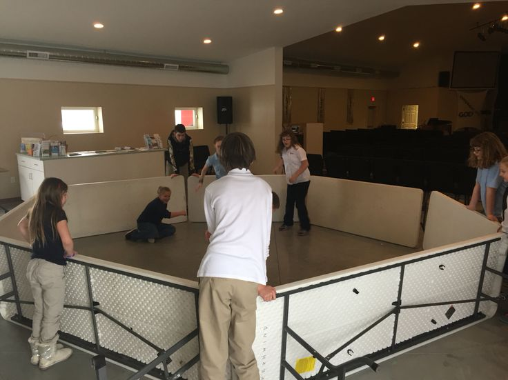 Gaga Ball pit with tables. Youth Ministry-Children's Ministry-Gym Class game.