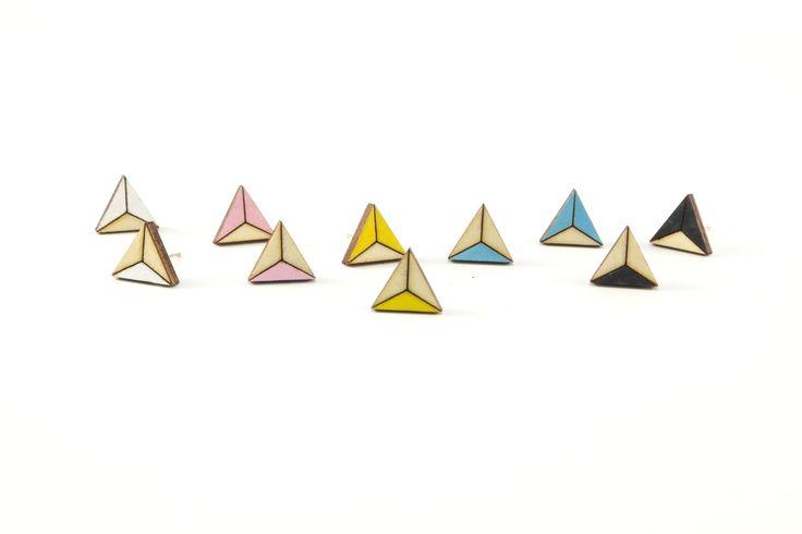 Wooden Stud Earrings | Handmade Painted Triangle Pattern Wood Earrings