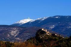 """With its 1912 meters of altitude, the Mont Ventoux dominates Provence and mountains of the Barronies. If snow covers the top in winter, the eternal snows do not last through summer except a cap which covers the top, earning it the nickname """"Géant de Provence"""" ( """"Giant of Provence"""") or """"mont Chauve"""" ( """"Bald Mountain"""")."""