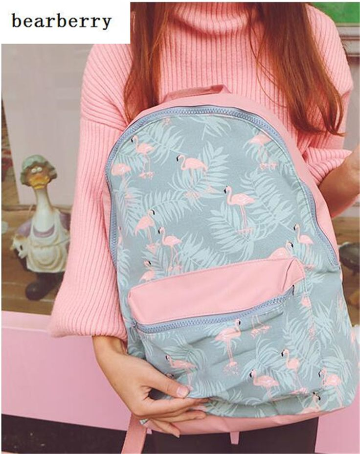 BEARBERRY 2017 Pink Flamingo Women Waterproof Backpack for School Teenage Girls Light Travel Storage Bag Portable Computer MN164