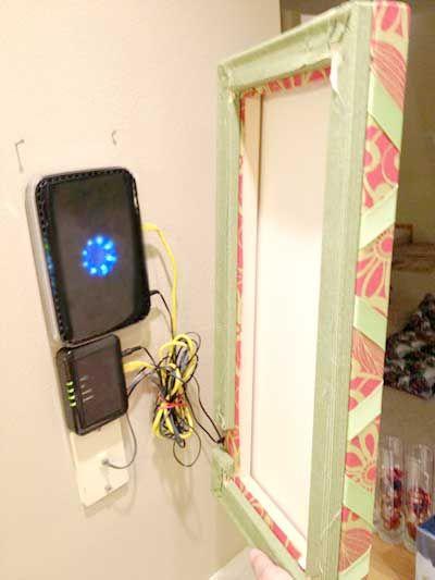 gem router og modem inden i et billede p vggen find this pin and more on space saving ideas