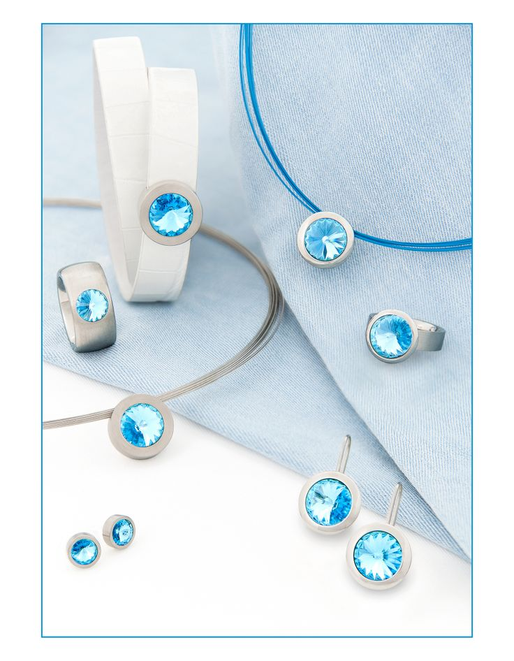 Stainless steel with swarovski® crystal aquamarine.