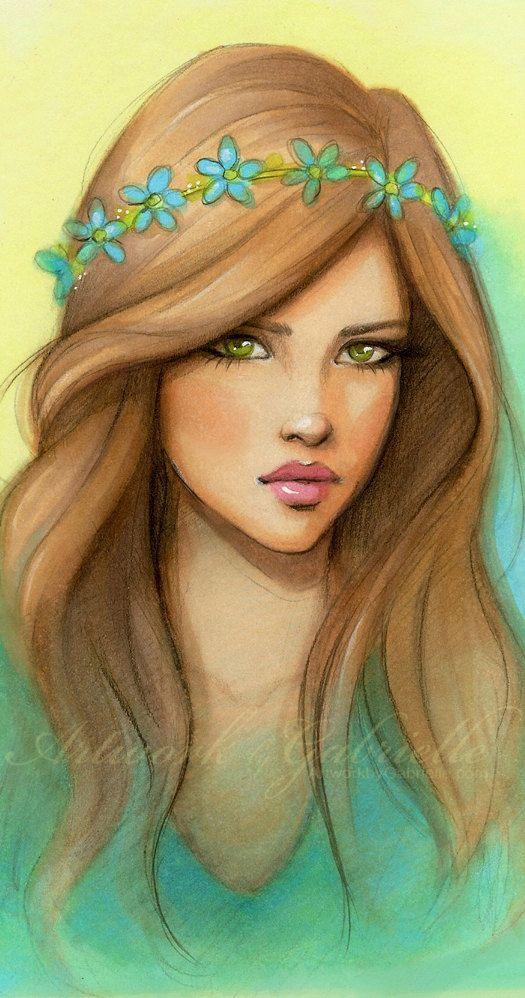 Chica de ojos verdes y mirada triste.