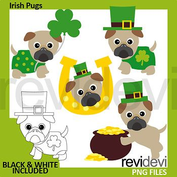 Irish pug clip art. Fun pugs clipart for St. Patrick's day activities and centers. This clipart pack features cute pugs in green costumes with Irish hat, pot of gold, and clover. Great resource for any school and classroom projects such as for creating bulletin board, printable, worksheet, classroom decor, craft materials, activities and games, and for