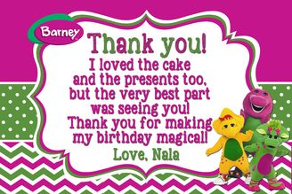 Barney Birthday Thank you card