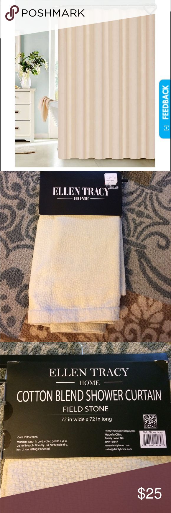 NWT Ellen Tracy Home*Shower Curtain New with tags, Ellen Tracy Home* cotton blend shower curtain. *FIELD STONE* nice ivory color. 72X72in. Feel free to ask questions! I ship same day!! Ellen Tracy Accessories