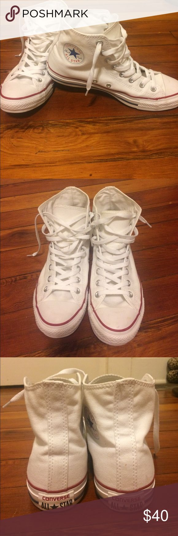 White High Top Converse I'm selling a pair of white high top converse in excellent condition. Only worn a handful of times. Size 8 men's / women's 10. Converse Shoes Sneakers