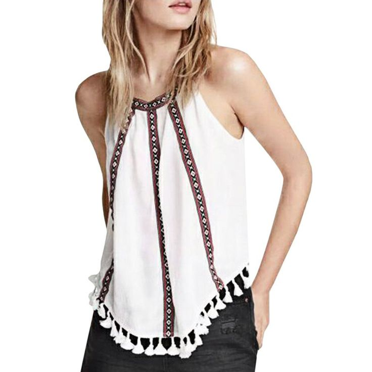 Off-The-Shoulder Sleeveless Camis Back Button Asymmetric Stripe Print Vest //Price: $14.62 & FREE Shipping //     #discount