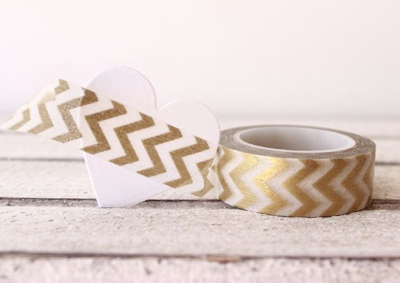 Metallic Gold Chevron Washi Tape    This tape is perfect for all paper projects! Use as a border to make unique scrapbook pages! This tape has