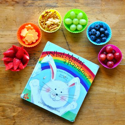 #fun food - Eating a Rainbow - As you read each page, encouraged your child to eat the color of food that matched the color in the book. After you read through the book in the order it was meant to be read, opening pages randomly then eat that color. Fun, interactive book too!
