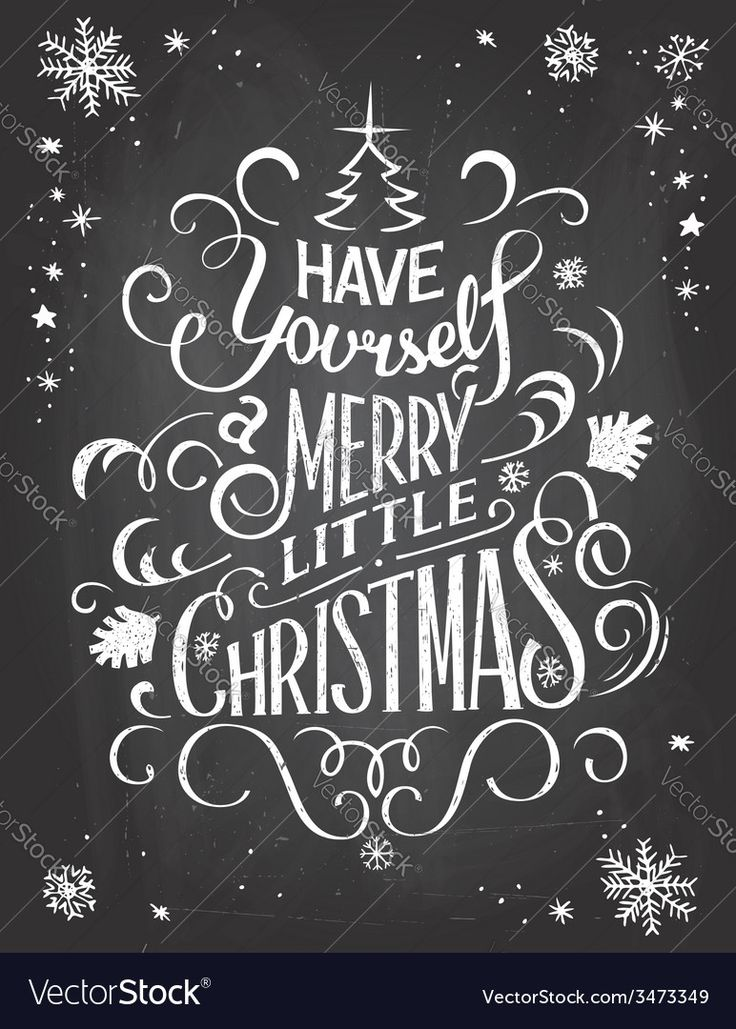 Vintage hand-lettering Christmas greetings on blac…