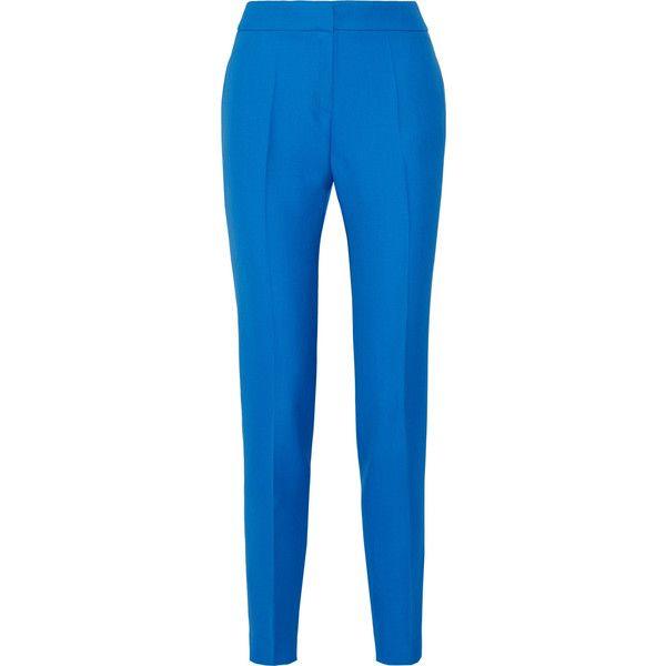 PallasAdonis Grain De Poudre Wool Skinny Pants (€865) ❤ liked on Polyvore featuring pants, azure, blue high waisted pants, high-waist trousers, high waisted pants, high-waisted pants and blue skinny pants