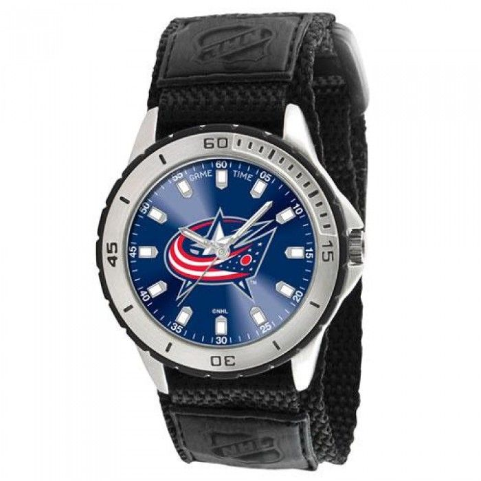 Columbus Blue Jackets NHL Mens Veteran Series Watch  Trying to find a fantastic gift idea for the sports fan that you know, the Veteran Series Watch is the way to go! There isn't any better option for a sports fanatic to demonstrate to all people whom their favorite team is than by sporting this magnificent timepiece. The full colored team emblem is right in the middle of the watch on a red background. The heavy duty but comfortable Velcro strap can very easily be adjusted to fit snugly...