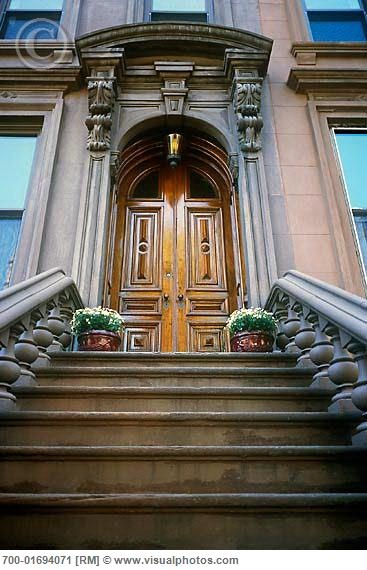 NYC. Brooklyn. Steps and Front Door of Brownstone.