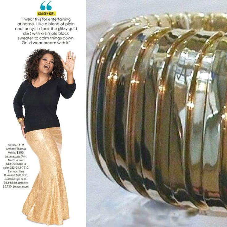 Oprah wearing a bold cuff bracelet made by Carlo Weingrill