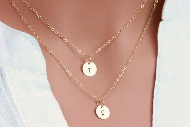 Double Layered Gold initial necklace,Personalized,two personalized discs,2 Initial Necklace, Double Solid 14K Gold Initial Necklace by rainbowearring on Etsy https://www.etsy.com/listing/212724224/double-layered-gold-initial