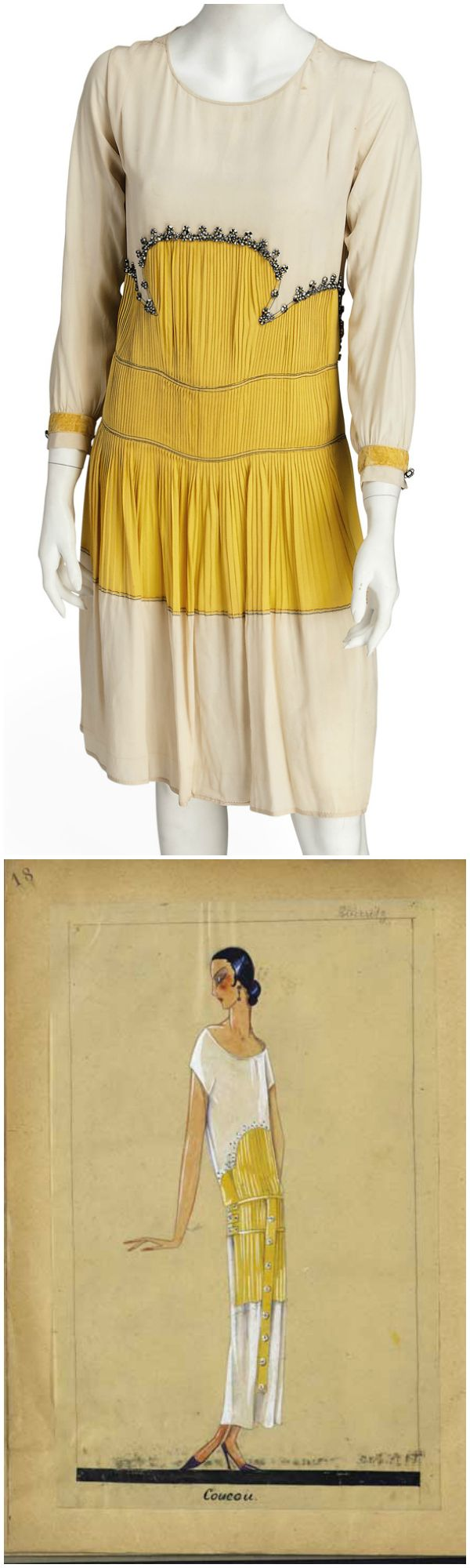 COUCOU, A JEANNE LANVIN DAY DRESS, 1923, sold by Christie's in November 2012. The bodice and hem of ivory crepe, the bodice and skirt of pleated yellow crepe, trimmed with white buttons bound in black silk twine, the sleeves long, with decorative buttons, the back with yellow crepe tie at the waist. The illustration, courtesy of Archives Lanvin, shows that the original design called for a longer dress. According to Christie's, it may have been shortened to conform to hemlines of the mid…