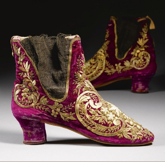Embroideried shoes.  Late-Ottoman, 19th century.