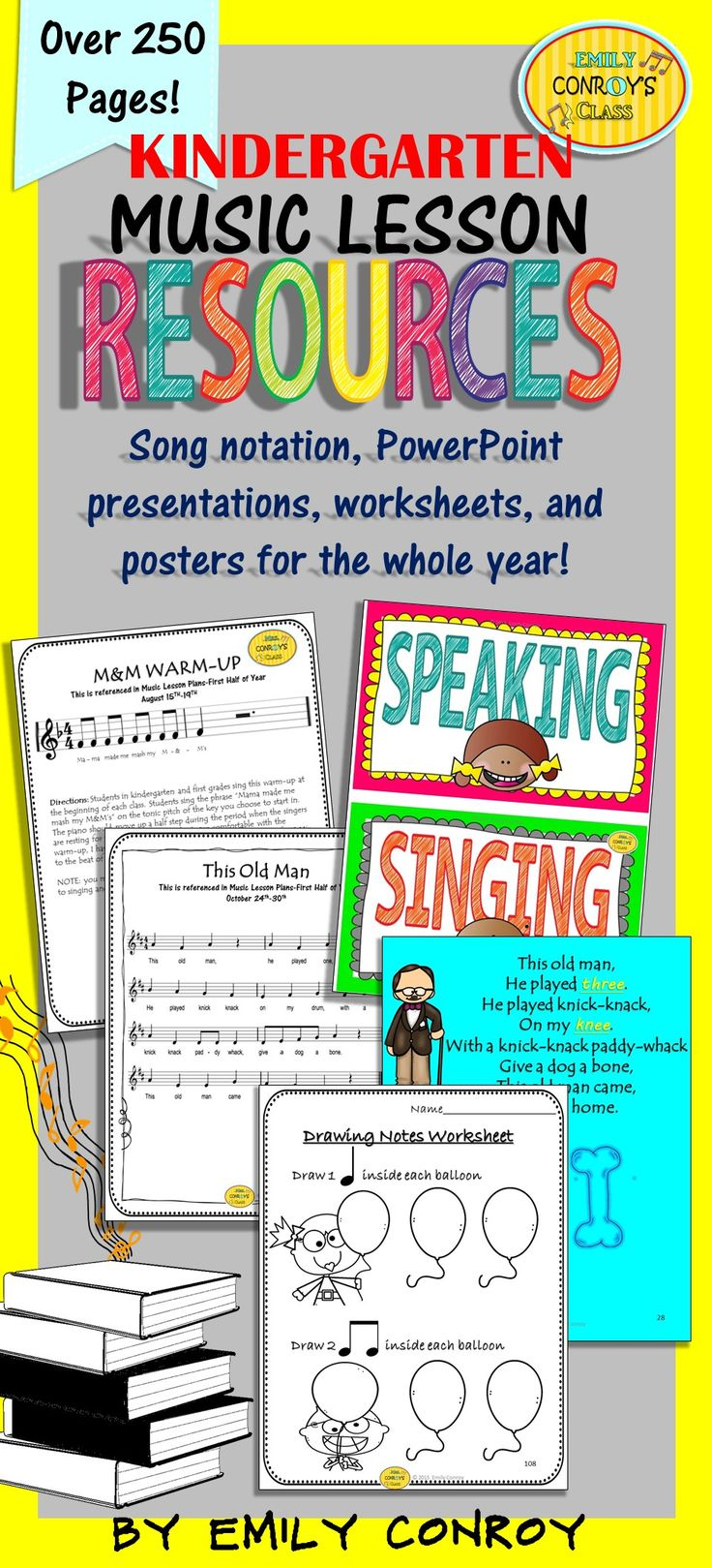 Music Resources for Kindergarten-Over 250 pages of worksheets, assessments, PowerPoints, songs, and manipulatives for the WHOLE year!