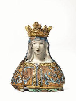 Busto, Siena, prima metà sec. XVIII, in maiolica policroma raffigurante Madonna di Provenzano incoronata, veste con disegno in bassorilievo: La Madonna è patrona della città di Siena, particolarmente venerata è collocata all'interno della Chiesa di Santa Maria di Provenzano dal 1611 è venerata con il titolo di Advocata Nostra, spesso riportato sulla base dei simulacri in terracotta che da essa derivano con varianti nel decoro dell'abito o della corona, alcuni datati, alt. cm 29   29.05.2014…