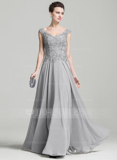 A-Line/Princess V-neck Floor-Length Appliques Lace Zipper Up Cap Straps Sleeveless No 2016 Silver Spring Summer Fall General Plus Chiffon Mother of the Bride Dress