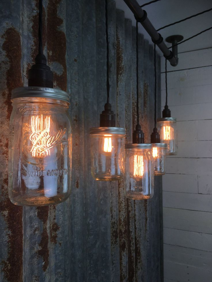Cromer : Handmade 5 drop bar pendant bar light with fittings for E27 Edison Screw Bulbs with Mason Jars