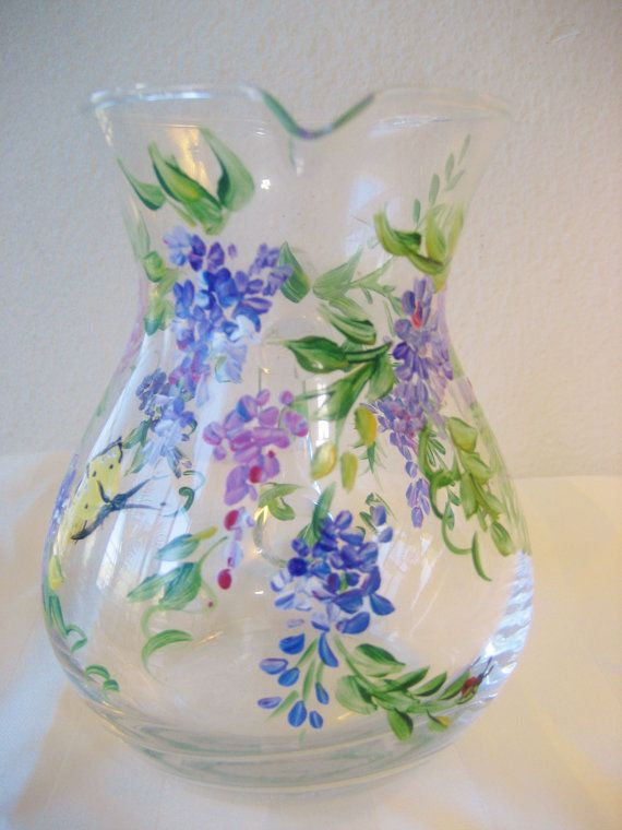 handpainted glass pitcher with wisteria mother's by TivoliGardens, $25.00