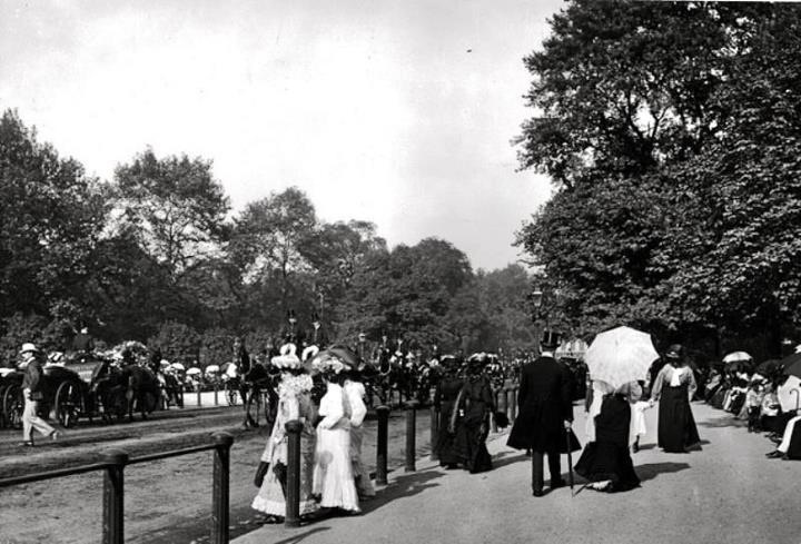 PAST LIVES: High Society promenading in Hyde Park, London, c.1900.