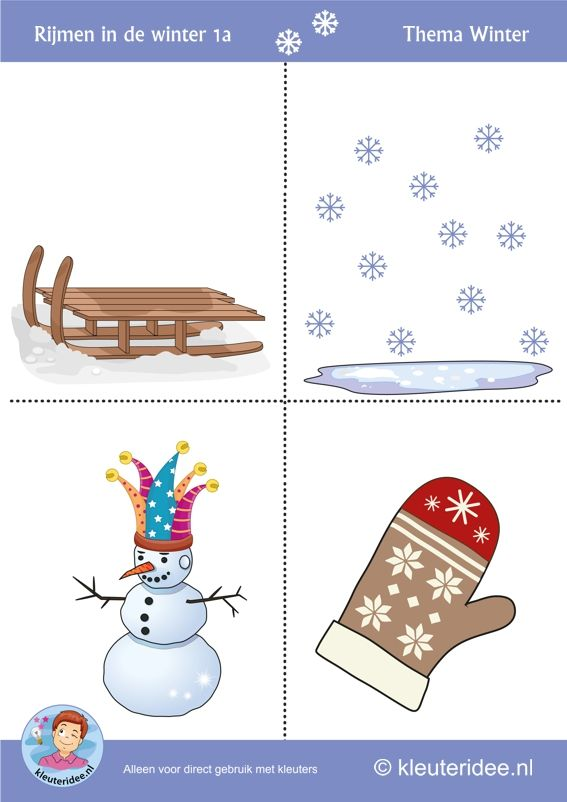 Rijmen in de winter met kleuters 1a, thema winter, juf Petra van kleuteridee, free printable.