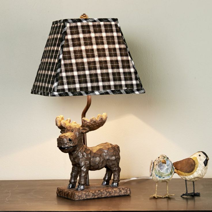 Whimsical Mini Moose Table Lamp The Square Scottish Highland Flannel Shade,  Mini Size And Whimsical