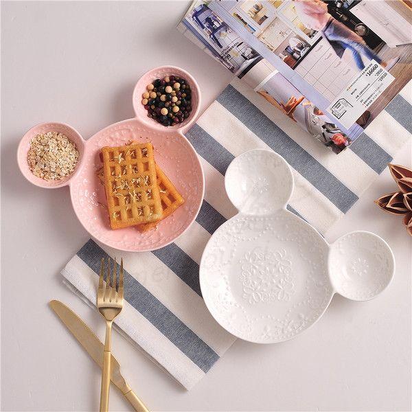 Микки тарелка Японский креативный завтрак блюдо из суб-сети посуда центр инвентаризации тарелка фруктовая тарелка керамическая посуда костяного фарфора для детей