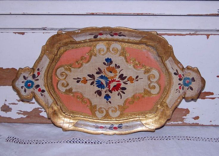 Vintage Italian Florentine Gold Pink Gilt Wood Tray Tole Italy STUNNING