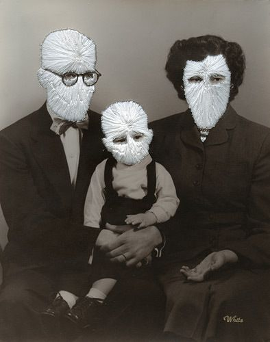 Jessica Wohl - The White Family hand embroidery on photographs