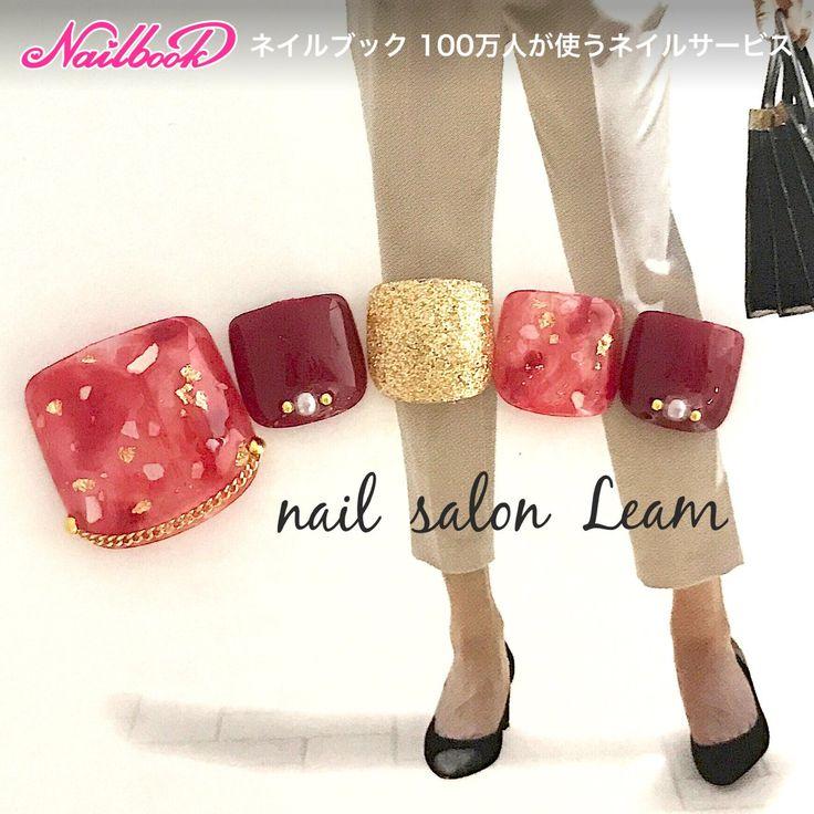 ショート/レッド/ゴールド/ボルドー/シェル - nail  salon Leamのネイルデザイン[No.2503339]|ネイルブック